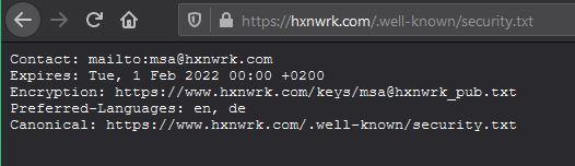 security.txt HXNWRK